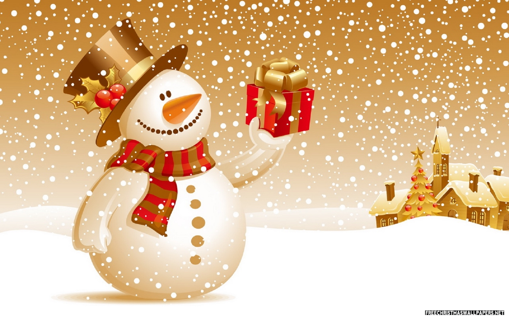 snowman with gift picture